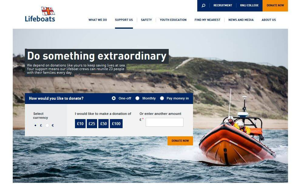 RNLI Donation web page