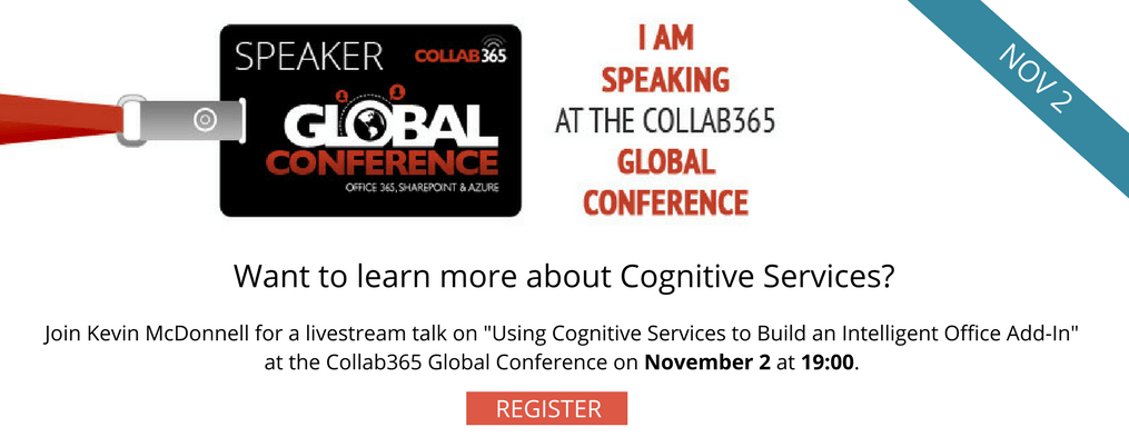 Cognitive Services, Collab365 Global Conference