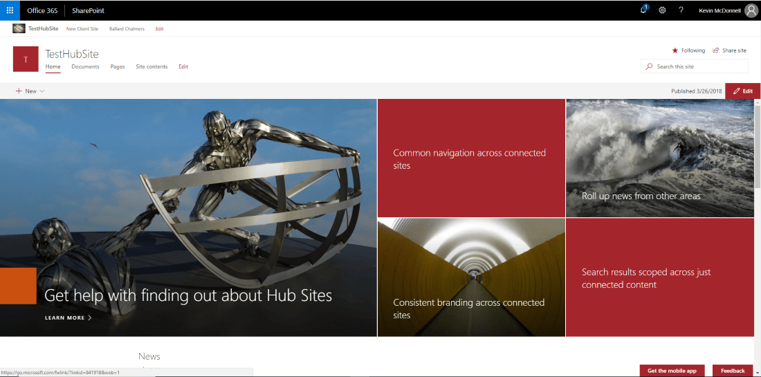 Hub Sites Hubbub blog | Test Hub Site