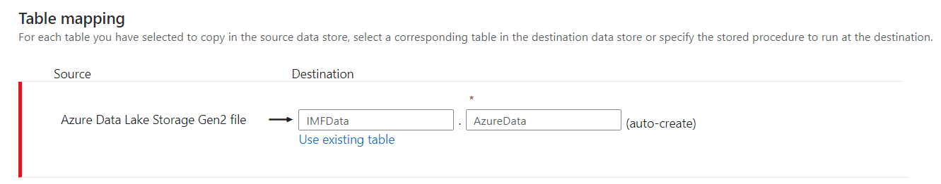 Figure 12 Table Mapping in Azure Synapse Analytics