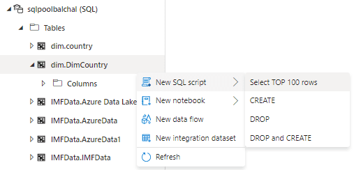 Creating a new script using the Azure Synapse Studio interface