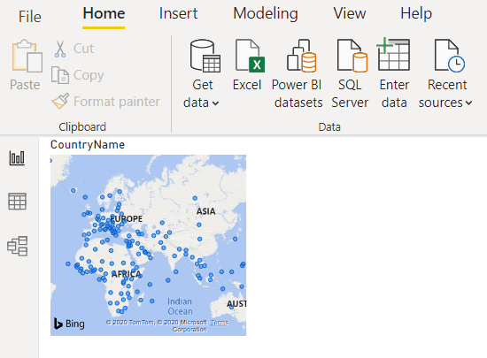 The Map visualisation in Power BI