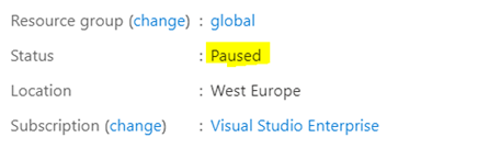 Resource Group Paused